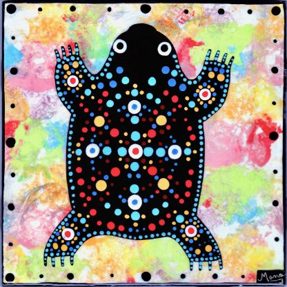 Mana Pottery clay tile featuring jumping toad on confetti background