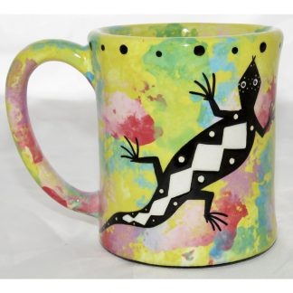 Mana Pottery e-mug with gecko, front