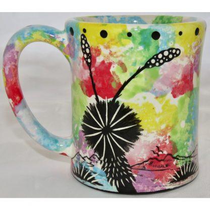 Mana Pottery e-mug with hummingbird, confetti, back