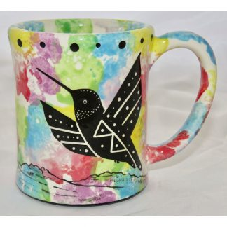 Mana Pottery e-mug with hummingbird, confetti, front