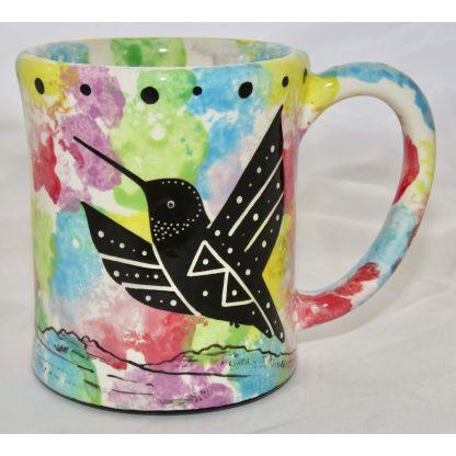 Mana Pottery e-mug with hummingbird, confetti, front