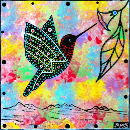 Mana Pottery clay tile with hummingbird