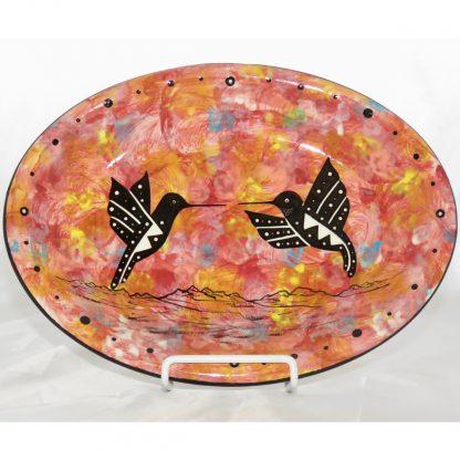 Mana Pottery Oval Tray with kissing hummingbirds, scarlet