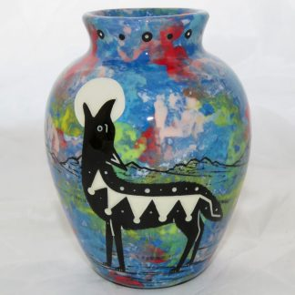 Six inch vase with howling coyote, front