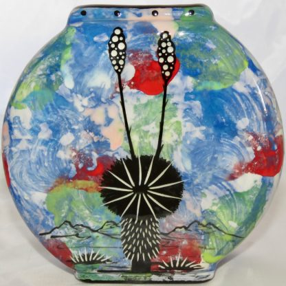 Blue Pillow Vase with Owl design - back
