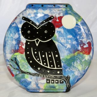 Blue Pillow Vase with Owl design - front