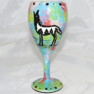 Mana Pottery wine glass with coyote, turquoise blue, front