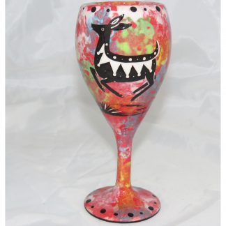 Mana Pottery wine glass with deer, scarlet, front