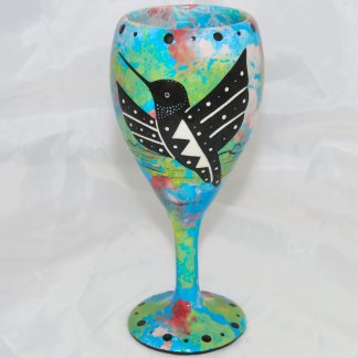 Mana Pottery wine glass with hummingbird, turquoise blue, front