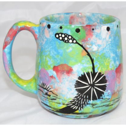 Mana Pottery Country Cup with deer, turquoise blue, back