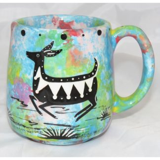Mana Pottery Country Cup with deer, turquoise blue, front