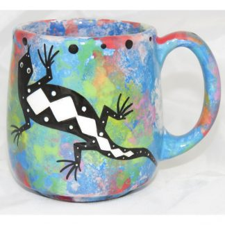 Mana Pottery Country Cup with gecko, blue, front
