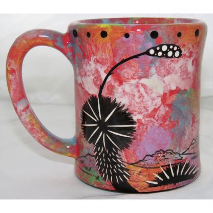 Mana Pottery e-mug with hawk, scarlet, back
