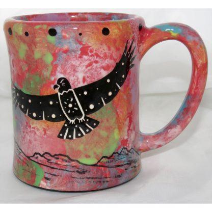 Mana Pottery e-mug with hawk, scarlet, front