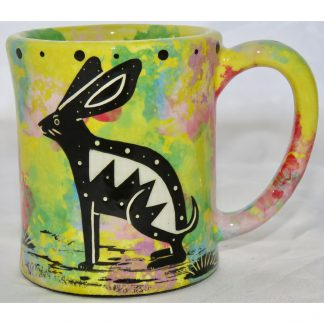 em-raMana Pottery e-mug with rabbit, yellow, front
