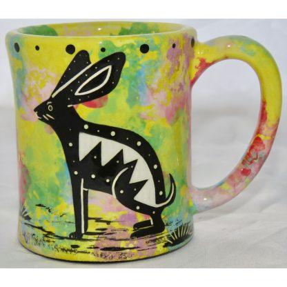 em-raMana Pottery e-mug with rabbit, yellow, front