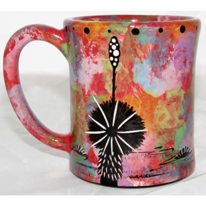 Mana Pottery e-mug with bear, scarlet, back