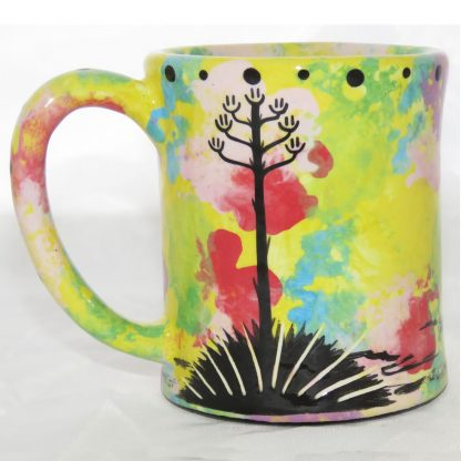Mana Pottery e-mug with bear, yellow, back