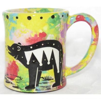 Mana Pottery e-mug with bear, yellow, front