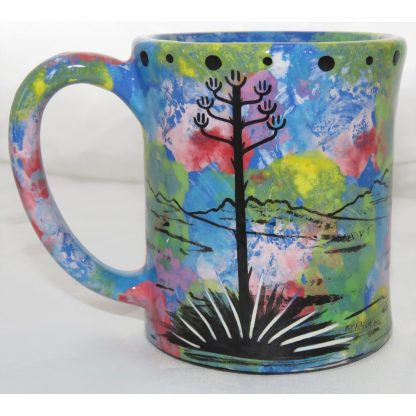 Mana Pottery e-mug with coyote, blue, back