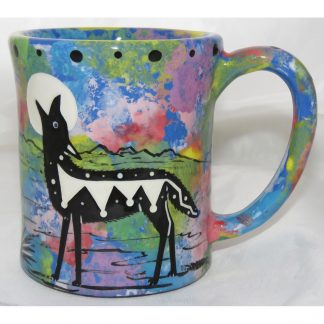 Mana Pottery e-mug with coyote, blue, front