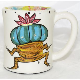 Mana Pottery e-mug with dancing peyote, design 2, front
