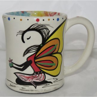 Mana Pottery e-mug with Peyote Guardian Spirit, yellow, front