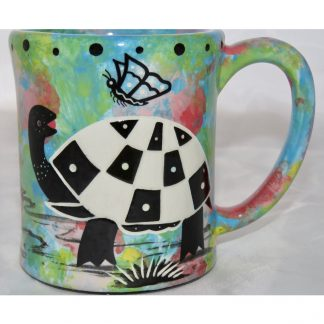 Mana Pottery e-mug with turtle, design 2, front
