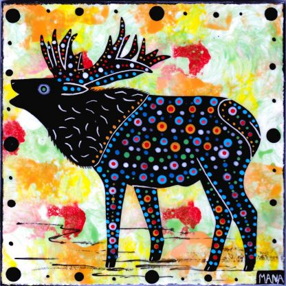 Mana Pottery tile with elk on light green