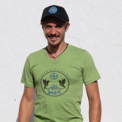 Peyote Way Church 40th Anniversary t-shirt, v-neck, green