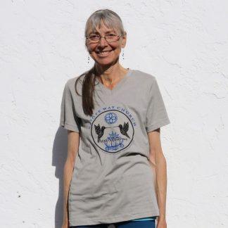 Peyote Way Church 40th Anniversary t-shirt, v-neck, gray