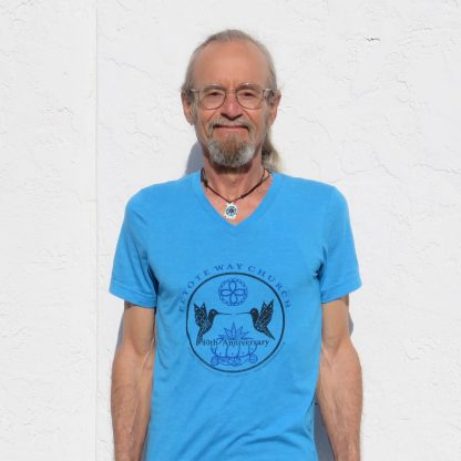 Peyote Way Church 40th Anniversary t-shirt, v-neck, turquoise