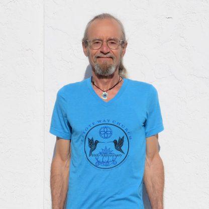 Peyote Way Church 40th Anniversary t-shirt, v-neck, turquoise