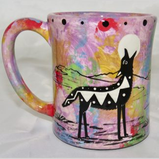 Ear handle mug, howling coyote, purple background.