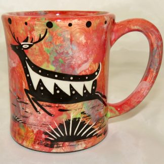 Ear hEar handle mug, running deer, scarlet background.andle mug, running deer, scarlet background.