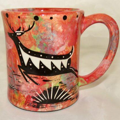 Ear hEar handle mug, running deer, scarlet background.andle mug, running deer, scarlet background.