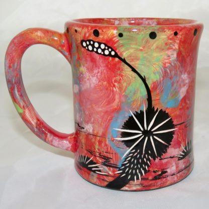 Ear handle mug, running deer, scarlet background. This is the reverse showing Aravaipa vegetation.