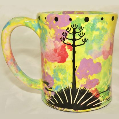 Ear handle mug, gecko, bright yellow background. This is the reverse side showing Aravaipa vegetation.