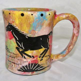 Ear handle mug, running horse, chocolate background.