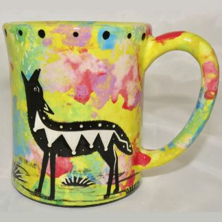 Ear handle mug, howling coyote, bright yellow background.