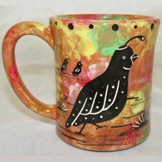 Ear handle mug, quail, chocolate background.