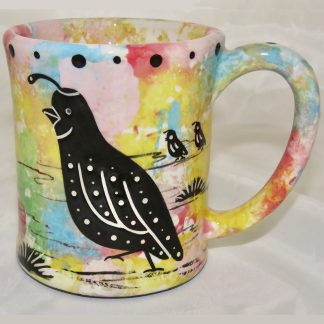 Ear handle mug, quail, confetti background.