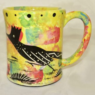 Ear handle mug, running roadrunner, bright yellow background.