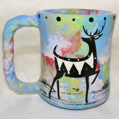 Rope handle mug, standing deer, blue background.