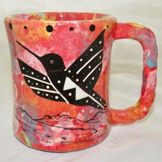 Rope handle mug, hummingbird with spread wings, scarlet background.