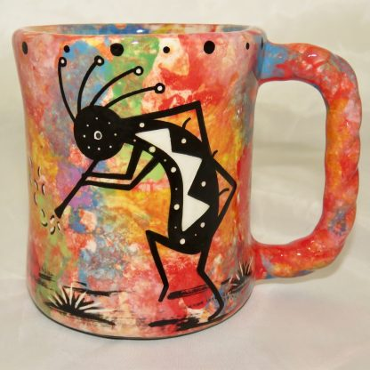 Rope handle mug, kokopelli, scarlet background.