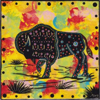 6 inch clay tile with bison on bright yellow by Mana Pottery