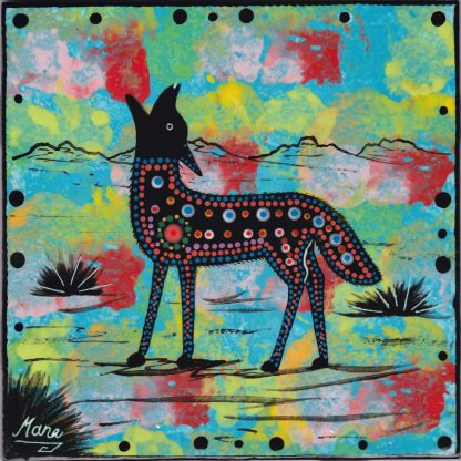 6 inch clay tile with coyote on turquoise blue by Mana Pottery