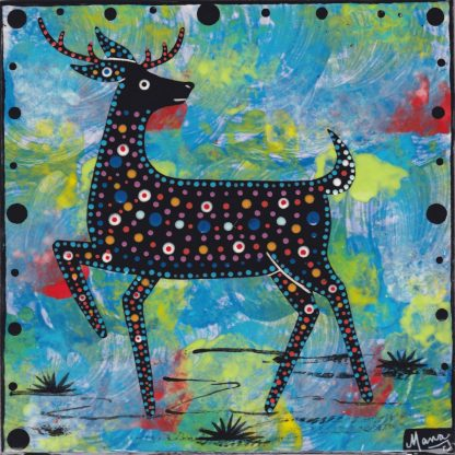 6 inch clay tile with deer on turquoise blue by Mana Pottery