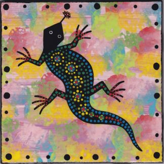 6 inch clay tile with gecko on purple by Mana Pottery